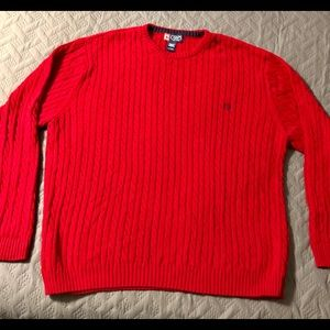 Chaps Men's TALL size Red Cable Knit Sweater
